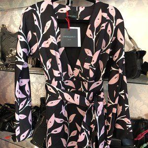 CYNTHIA ROWLEY Black Floral Print Wrap Dress